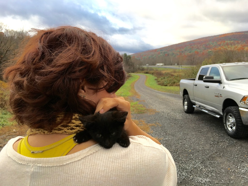 This picture sums up our entire trip. Sexy truck, the gorgeous scenery of the Blue Ridge mountains, and our new hitchhiker.