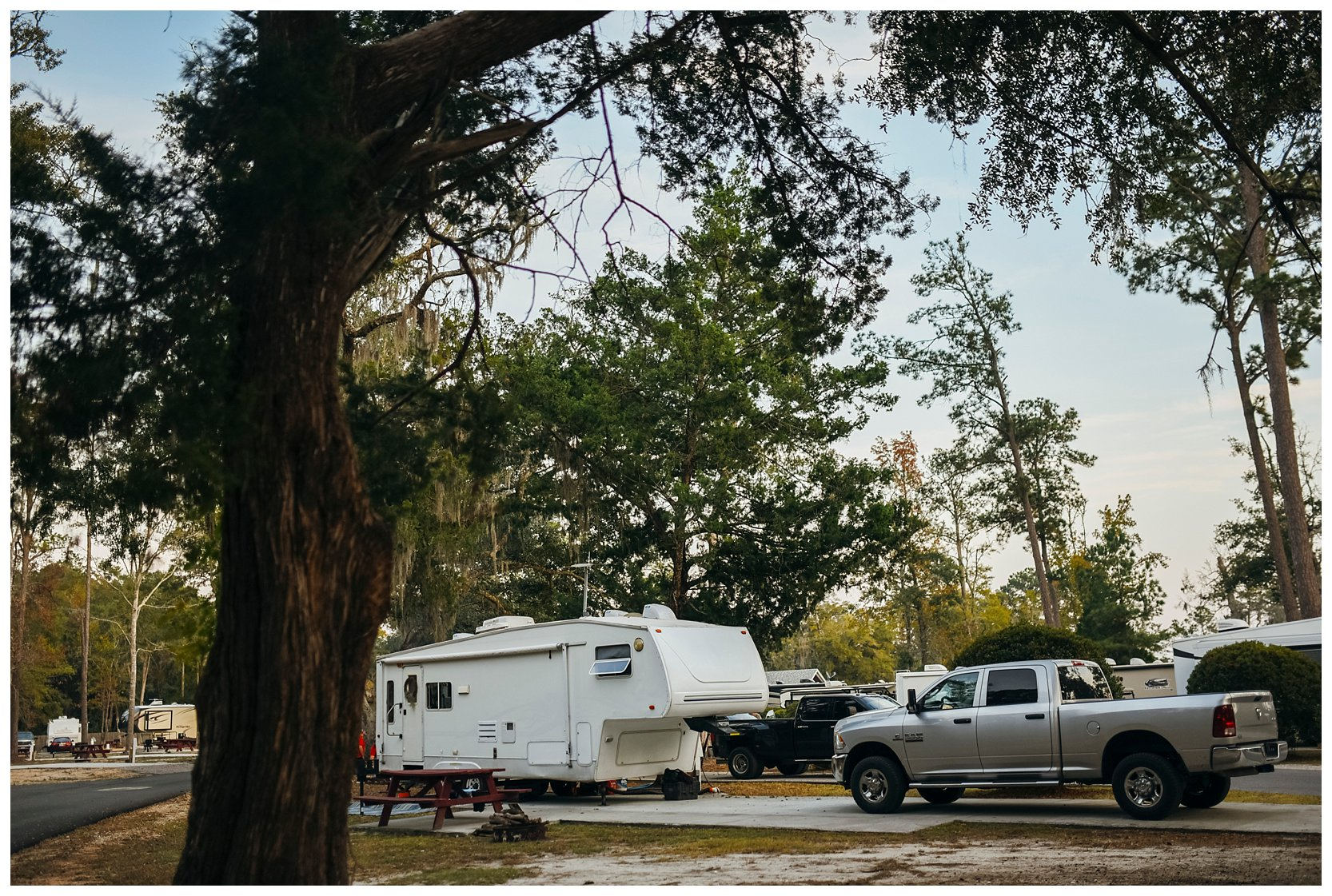 A fifth wheel camper parked at Live Oak Landing