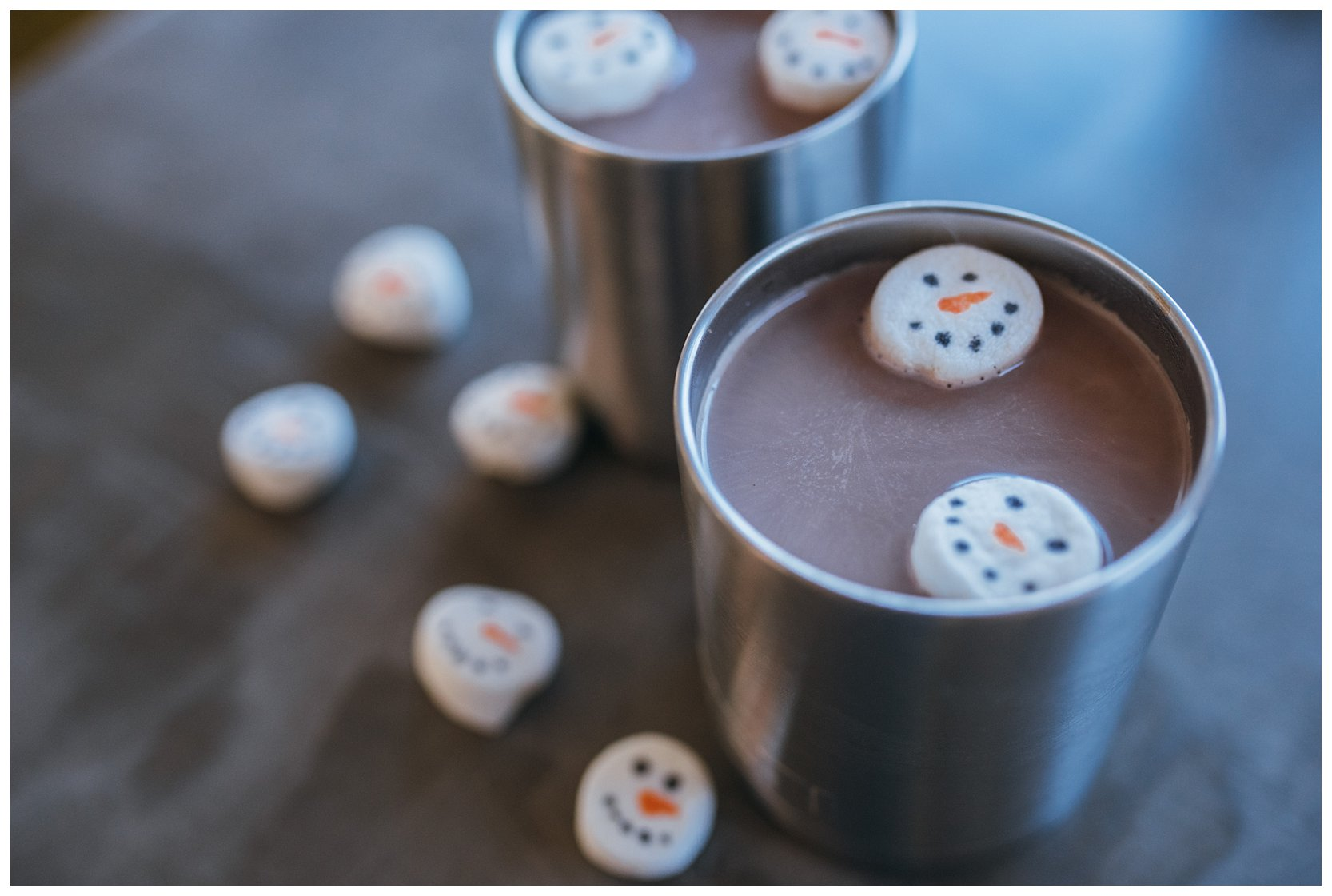 Hot cocoa in a yeti with snowman marshmallows